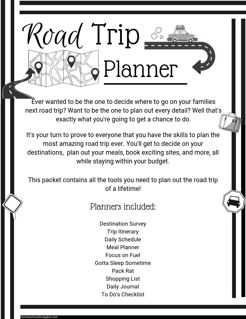 Road Trip Planner Front Page With a Map And List Of All Pages Included Within The 11-page Planner