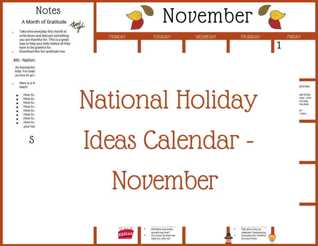 National Holiday Ideas Calendar - November