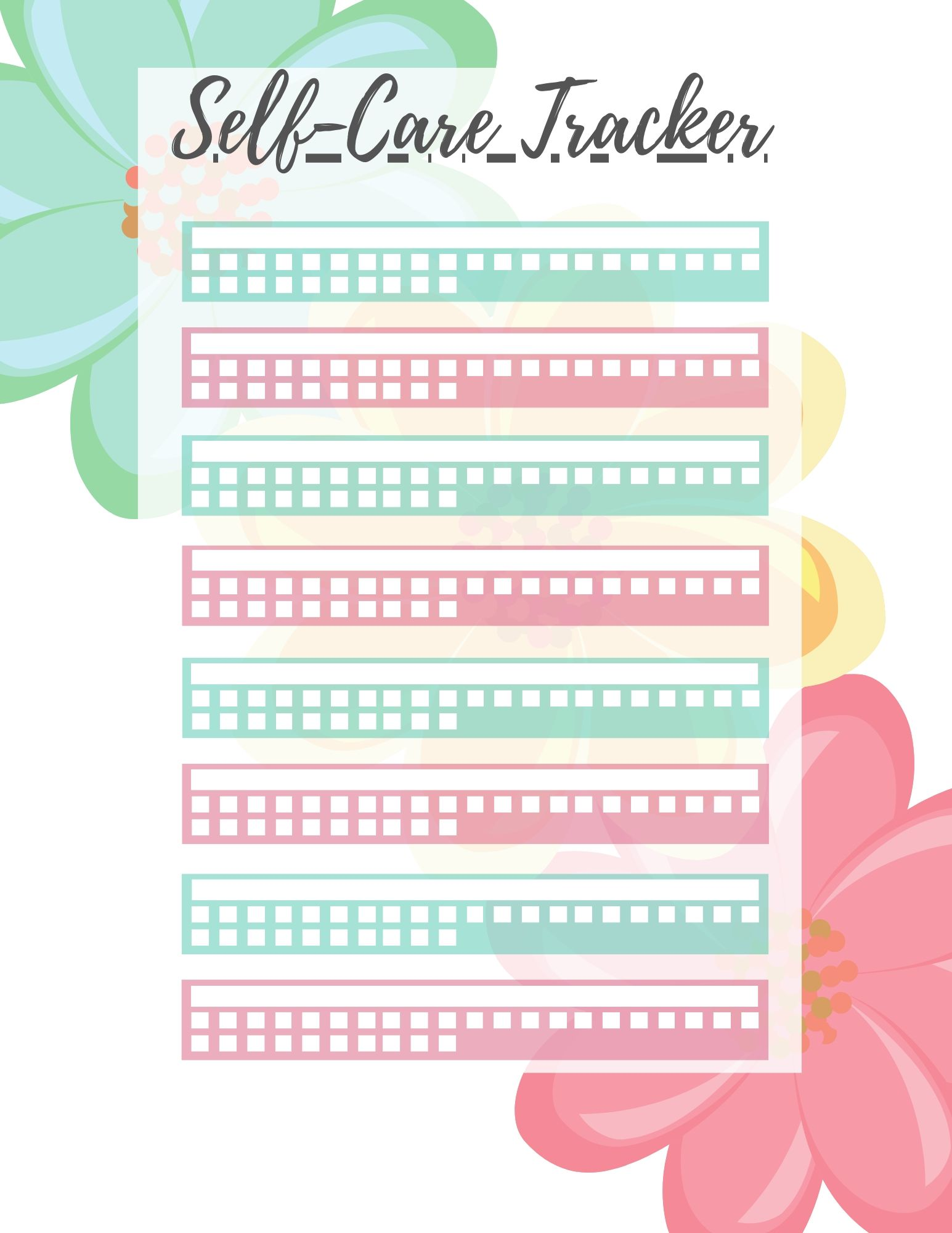 Self-Care Planning Toolkit Floral Edition